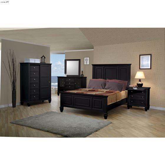Sandy Beach Black King Panel Bed 201321KE-3