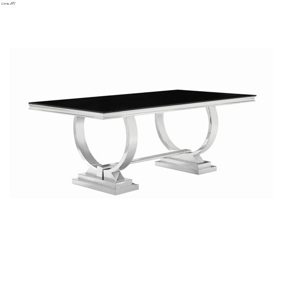 Antoine Chrome and Black Glass Dining Table 107871 by Coaster