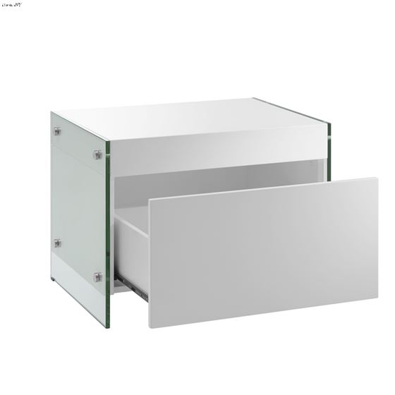 IL Vetro White Lacquer Nightstand / End Table - 3