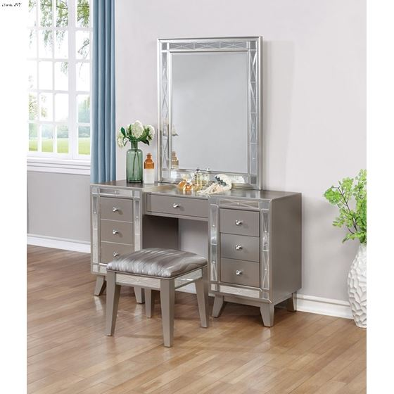 Leighton Metallic Mercury Beveled Vanity Mirror-3