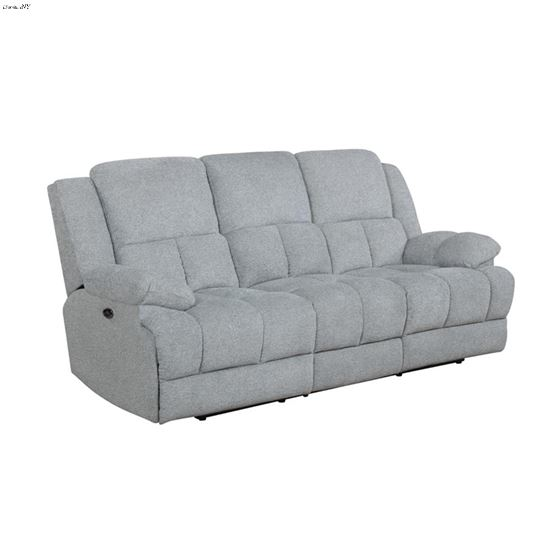 Waterbury Grey Power Recliner Sofa with Drop Down Table 602561P By Coaster