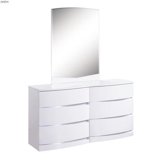 Aurora White Modern 6 Drawer Dresser by Global Fur