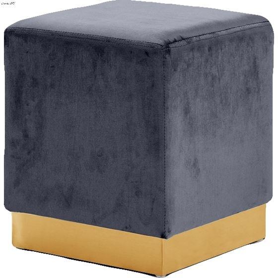 Jax Grey Velvet Upholstered Ottoman/Stool - Gold B