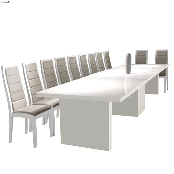 Largo Extra Large Extension White Lacquer Dining Table 1