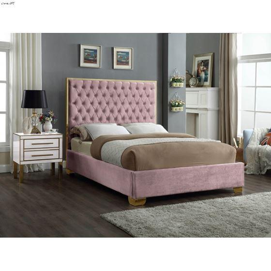 Lana Pink Velvet Upholstered Tufted Platform Bed