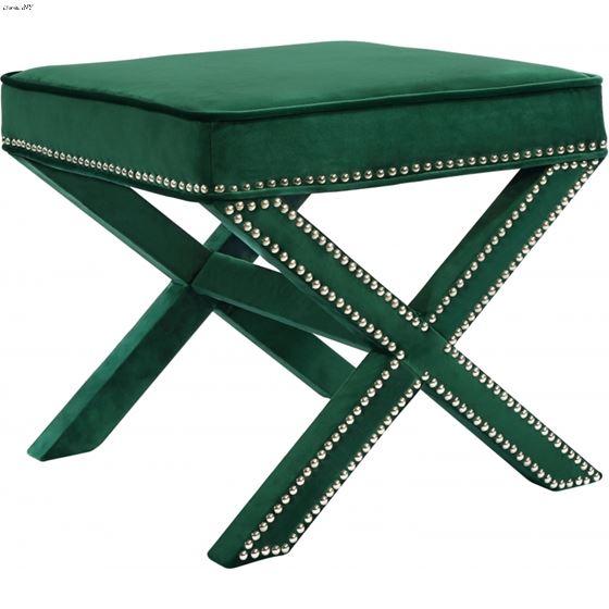 Nixon Green Velvet Upholstered Ottoman/Bench