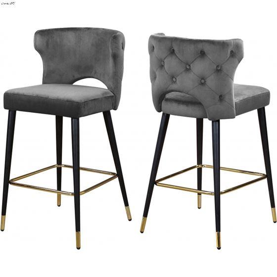 Strange Kelly Grey Velvet Upholstered Tufted Bar Counter Stoolgrey Velvet Upholstery Ibusinesslaw Wood Chair Design Ideas Ibusinesslaworg