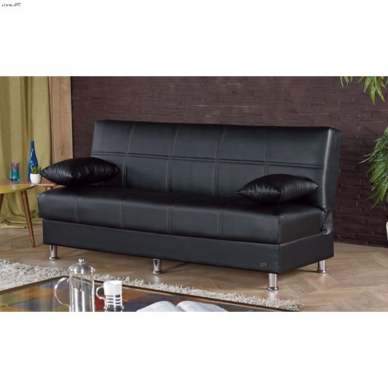 Halifax Armless Sofa Bed in Black Leatherette