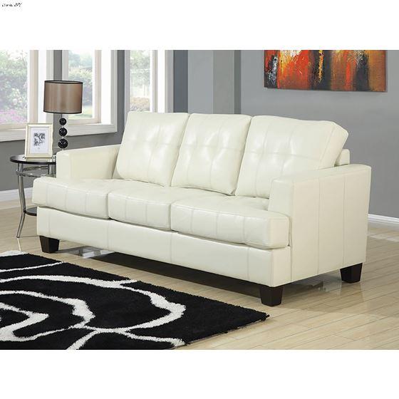 Samuel Cream Bonded Leather Sofa 501691-2