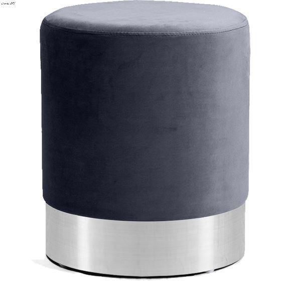 Joy Grey Velvet Upholstered Ottoman/Stool - Chrome
