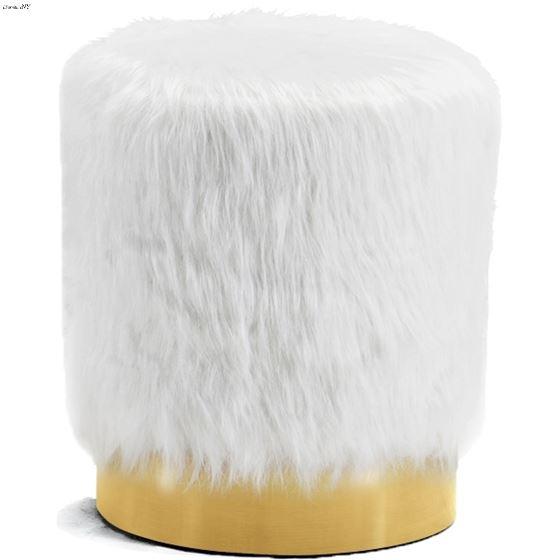 Joy White Fur Upholstered Ottoman/Stool