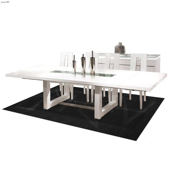 Novo Double Pedestal White Lacquer Dining Table by Sharelle furnishings