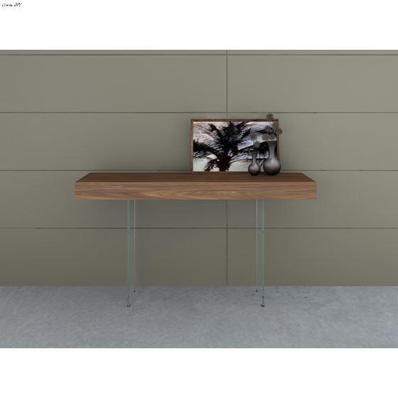 IL Vetro Walnut Veneer w/ Glass Console Table by C