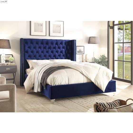 Aiden Navy Velvet Upholstered Tufted Platform Bed Room Scene