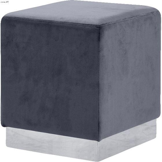 Jax Grey Velvet Upholstered Ottoman/Stool - Chrome