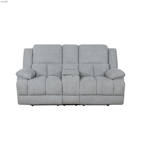 Waterbury Grey Reclining Loveseat with Console 6-3