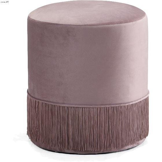 Teddy Pink Velvet Upholstered Ottoman/Stool