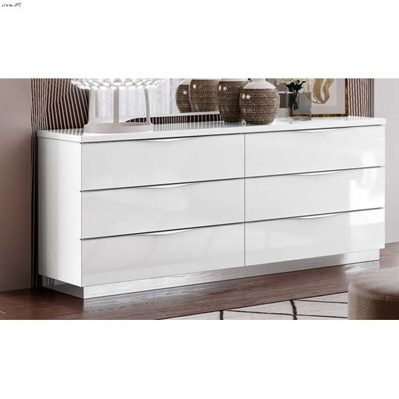 Onda Modern White 6 Drawer Double Dresser by Camelgroup Italy