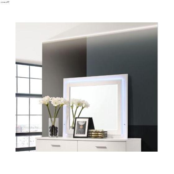 Felicity Glossy White LED Rectangular Mirror 203504LED By Coaster