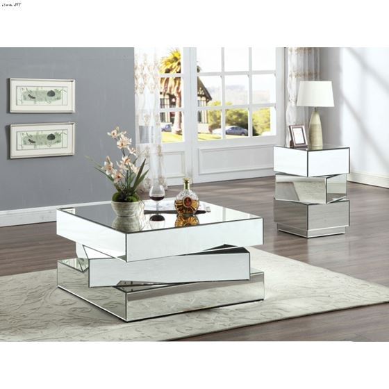 Haven Silver Mirrored Occasional Table Collection