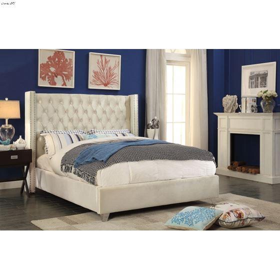 Aiden Cream Velvet Upholstered Tufted Bed in Room