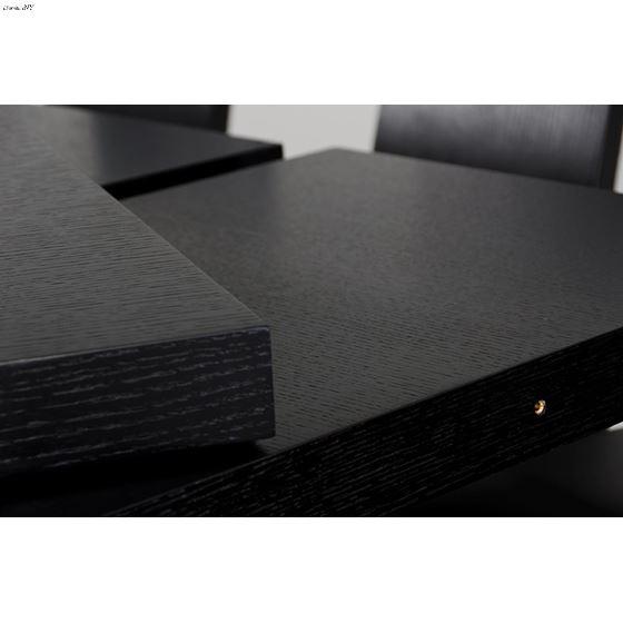 Modrest Maxi Modern Black Oak Dining Table Extensions