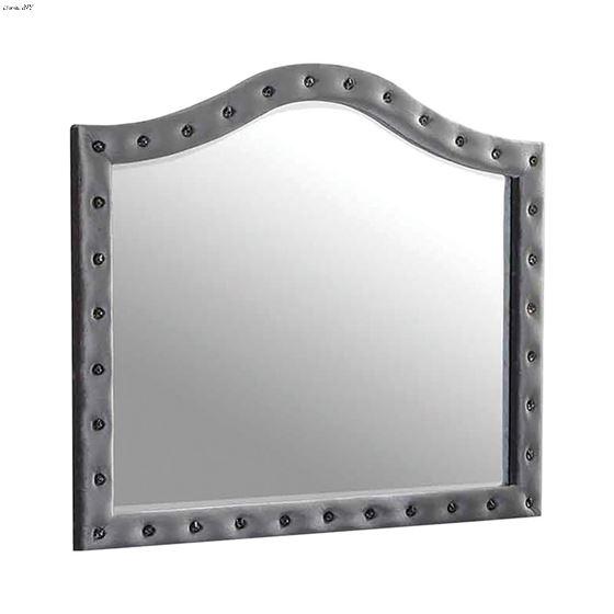 Deanna Grey Velvet Button Tufted Mirror 205104 By Coaster
