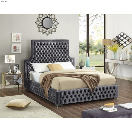 Sedona Grey Velvet Upholstered Tufted Platfrom Bed